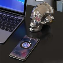 Bluetooth тонколона Skull Head / Skull Head Bluetooth Wireless Stereo Speaker - сребриста