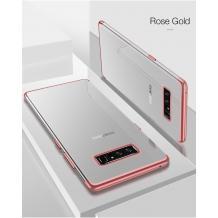 Луксозен силиконов калъф / гръб / TPU за Samsung Galaxy Note 8 N950 - прозрачен / Rose Gold кант