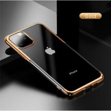 Луксозен твърд гръб Baseus Glitter Clear Case за Apple iPhone 11 Pro Max 6.5 - прозрачен / златист кант