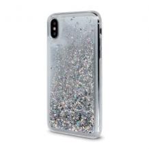 Луксозен твърд гръб 3D Water Case за Samsung Galaxy A70 - прозрачен / течен гръб с брокат / сребрист