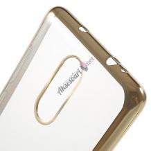 Луксозен силиконов гръб TPU за Lenovo Vibe K5 Note A7020 - прозрачен / златист кант