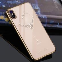 Луксозен твърд гръб KINGXBAR Swarovski Diamond за Samsung Galaxy Note 10 Plus N975 - прозрачен със златист кант / сърце