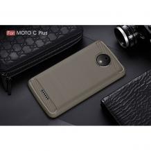 Силиконов калъф / гръб / TPU за Lenovo Moto C Plus - сив / carbon