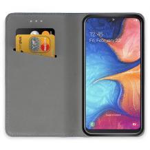Луксозен кожен калъф Flip тефтер Samsung Galaxy A20e - златист