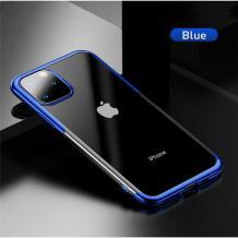 Луксозен силиконов калъф / гръб / TPU Baseus Shining Case за Apple iPhone 11 Pro Max 6.5'' - прозрачен / син кант