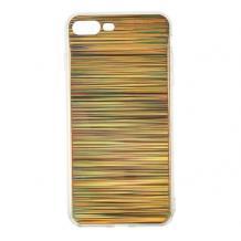 Луксозен твърд гръб със силиконов кант за Apple iPhone 7 Plus / iPhone 8 Plus - златист / холограма