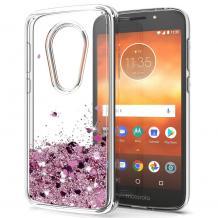 Луксозен твърд гръб 3D Water Case за Motorola Moto E5 - прозрачен / течен гръб със светло розов брокат