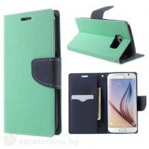Кожен калъф Flip тефтер със стойка MERCURY Fancy Diary за Xiaomi Redmi 9C - син