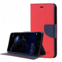 Кожен калъф Flip тефтер със стойка MERCURY Fancy Diary за Xiaomi Redmi 9C - червен