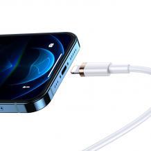 Оригинален USB кабел USAMS за зареждане и пренос на данни U63 / Type C към Lightning / 20W - Бял
