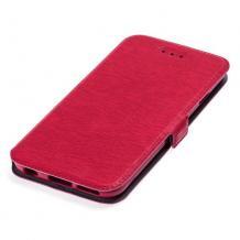 Кожен калъф Flip тефтер Flexi със стойка за Motorola Moto G100 - червен