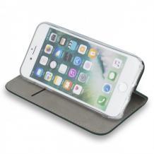 Кожен калъф Flip тефтер Flexi със стойка за Motorola Moto G100 - сив
