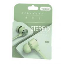Стерео слушалки Yookie YK1170 / handsfree / 3.5mm за смартфон - зелени