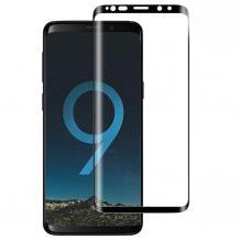 Оригинално извит удароустойчив скрийн протектор / 3D full cover Screen Protector за дисплей на Samsung Galaxy S8 G955 - черен