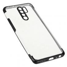 Луксозен силиконов калъф / гръб / TPU за Xiaomi Redmi 9 - прозрачен / черен кант