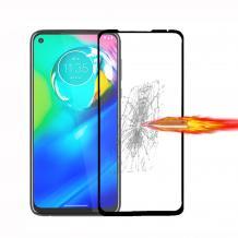 5D full cover Tempered glass Full Glue screen protector за Motorola Moto G9 Plus / Извит стъклен скрийн протектор с лепило от вътрешната страна за Motorola Moto G9 Plus - черен
