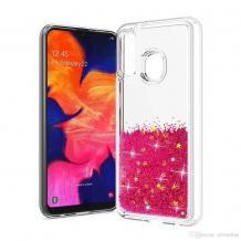 Луксозен твърд гръб 3D Water Case за Huawei P Smart Z / Y9 Prime 2019 - прозрачен / течен гръб с розов брокат