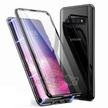 Магнитен калъф Bumper Case 360° FULL за Samsung Galaxy S10 Plus - прозрачен / черна рамка