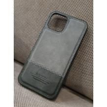 Луксозен кожен гръб G-Case Rost Series за Apple iPhone 12 /12 Pro 6.1'' - Сив