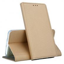 Кожен калъф Magnet Case със стойка за Motorola Moto G7 Play - златист