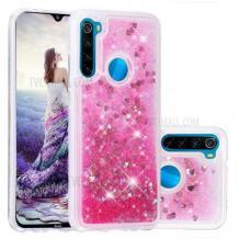 Луксозен твърд гръб 3D Water Case за Motorola Moto G8 Plus - прозрачен / течен гръб с брокат / сърца / розов