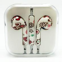 Стерео слушалки 3.5mm за смартфон - бели / червени и кафеви цветя