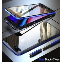 Магнитен калъф Bumper Case 360° FULL за Apple iPhone 7 / iPhone 8 - прозрачен / синя рамка