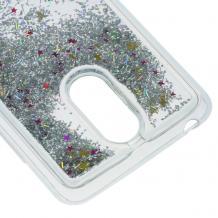 Луксозен твърд гръб 3D за LG K8 2017 - прозрачен / сребрист брокат / звездички