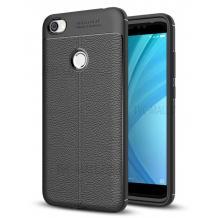 Луксозен силиконов калъф / гръб / TPU за Xiaomi RedMi Note 5A Prime - черен / имитиращ кожа
