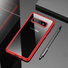 Луксозен силиконов гръб USAMS MANT Series TPU за Samsung Galaxy S10 - прозрачен / червен кант
