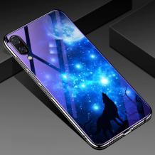 Луксозен стъклен твърд гръб със силиконов кант за Samsung Galaxy A10/M10 - синьо съзвездие