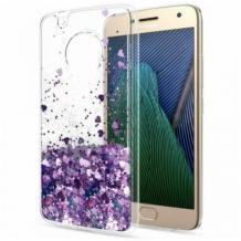Луксозен гръб 3D Water Case за Motorola Moto G9 Plus - прозрачен / течен гръб с лилав брокат / сърца