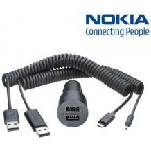 Оригинално двойно USB зарядно за кола 12 - 24V DC-20 с микро USB за Nokia