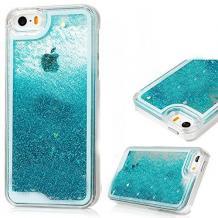 Луксозен твърд гръб 3D Water Case за Apple iPhone 6 / iPhone 6S - прозрачен / течен гръб с брокат / син