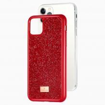 Луксозен твърд гръб Swarovski за Apple iPhone 12 /12 Pro 6.1'' - червен / камъни