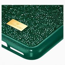 Луксозен твърд гръб Swarovski за Apple iPhone 12 /12 Pro 6.1'' - тъмно зелен / камъни