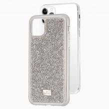 Луксозен твърд гръб Swarovski за Apple iPhone 12 /12 Pro 6.1'' - сребрист / камъни