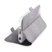 Кожен калъф Flip тефтер Flexi със стойка за Xiaomi Redmi Note 9 - сив