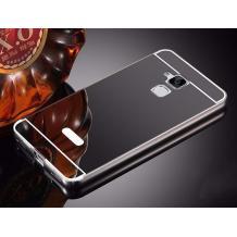 Луксозен алуминиев бъмпер с твърд гръб за Asus Zenfone 3 Max ZC520TL - огледален / тъмно сив