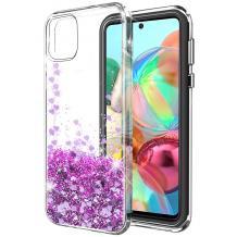Луксозен твърд гръб 3D Water Case за Samsung Galaxy A41 - прозрачен / течен гръб с брокат / сърца / лилав