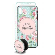 Луксозен твърд гръб 3in1 със стъклен протектор и Popsocket за Apple iPhone 7 / iPhone 8 - Just Breathe