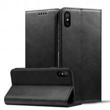 Кожен калъф Flip тефтер Flexi Magnet Book със стойка за Apple iPhone X / iPhone XS - черен