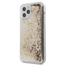 Луксозен гръб 3D Guess Glitter Case за Apple iPhone 12 Pro Max 6.7'' - прозрачен / златист брокат / фигури