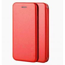 Луксозен кожен калъф Flip тефтер със стойка OPEN за LG K42 - червен