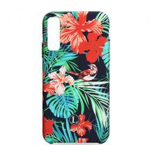 Силиконов калъф / гръб / TPU LUXO за Samsung Galaxy A50 - черен / цветя