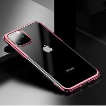Луксозен твърд гръб Baseus Glitter Clear Case за Apple iPhone 11 Pro Max 6.5 - прозрачен / Rose Gold кант