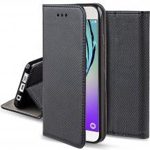 Кожен калъф Magnet Case със стойка за Motorola One Macro - черен