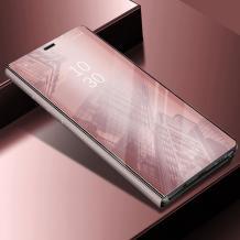 Луксозен калъф Clear View Cover с твърд гръб за Apple iPhone XS Max - Rose Gold