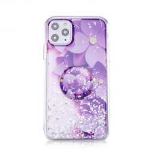 """Луксозен силиконов калъф / гръб / RUBY TPU с Popsocket за Apple iPhone 11 6.1"""" - лилав / цветя"""