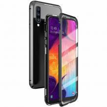 Магнитен калъф Bumper Case 360° FULL за Samsung Galaxy A50 / A50S / A30S - прозрачен / черна рамка